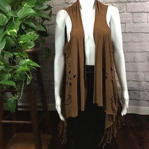Cut-out long fringe boho vest
